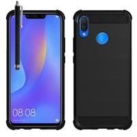 """Huawei P Smart+/ P Smart Plus/ Nova 3i 6.3"""" INE-LX1/ LX2/ L21 (non compatible Huawei P smart 5.65""""/ Nova 5.0""""/ Nova 3): Coque Housse Silicone Souple en Fibre de Carbone Brossé motif TPU Case + Stylet - NOIR"""