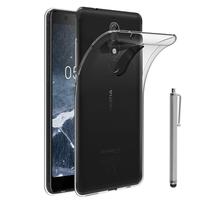 """Nokia 5.1 (2018) 5.5"""" (non compatible Nokia 5 (2017) 5.2""""/ Nokia 5.1 Plus 5.86""""): Accessoire Housse Etui Coque gel UltraSlim et Ajustement parfait + Stylet - TRANSPARENT"""