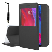 "Xiaomi Mi 8/ Xiaomi Mi8 6.21"" (non compatible Xiaomi Mi 8 SE 5.88""/ Mi 8 Lite 6.26""/ Mi 8 Youth (Mi 8X)): Etui View Case Flip Folio Leather cover + mini Stylet - NOIR"