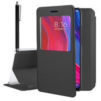 "Xiaomi Mi 8/ Xiaomi Mi8 6.21"" (non compatible Xiaomi Mi 8 SE 5.88""/ Mi 8 Lite 6.26""/ Mi 8 Youth (Mi 8X)): Etui View Case Flip Folio Leather cover + Stylet - NOIR"