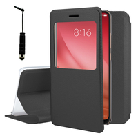 "Xiaomi Mi 8 Pro/ Mi 8 Explorer 6.21"" (non compatible Xiaomi Mi 8 SE 5.88""/ Mi 8 Lite 6.26""/ Mi 8 Youth (Mi 8X)): Etui View Case Flip Folio Leather cover + mini Stylet - NOIR"