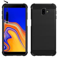 """Samsung Galaxy J6+/ J6 Plus (2018) 6.0"""" (non compatible Galaxy J6 (2018) 5.6"""") [Les Dimensions EXACTES du telephone: 161.4 x 76.9 x 7.9 mm]: Coque Housse Silicone Souple en Fibre de Carbone Brossé motif TPU Case + mini Stylet - NOIR"""