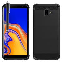 """Samsung Galaxy J6+/ J6 Plus (2018) 6.0"""" (non compatible Galaxy J6 (2018) 5.6"""") [Les Dimensions EXACTES du telephone: 161.4 x 76.9 x 7.9 mm]: Coque Housse Silicone Souple en Fibre de Carbone Brossé motif TPU Case + Stylet - NOIR"""