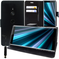 """Sony Xperia XZ3/ XZ3 DUAL SIM 6.0"""": Accessoire Etui portefeuille Livre Housse Coque Pochette support vidéo cuir PU + mini Stylet - NOIR"""