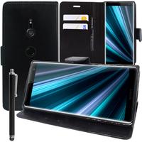 """Sony Xperia XZ3/ XZ3 DUAL SIM 6.0"""": Accessoire Etui portefeuille Livre Housse Coque Pochette support vidéo cuir PU + Stylet - NOIR"""