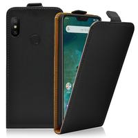 """Xiaomi Mi A2 Lite/ Redmi 6 Pro 5.84"""" (non compatible Xiaomi Mi A2 (Mi 6X) 5.99""""): Accessoire Housse Coque Pochette Etui protection vrai cuir à rabat vertical - NOIR"""