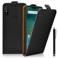 """Xiaomi Mi A2 Lite/ Redmi 6 Pro 5.84"""" (non compatible Xiaomi Mi A2 (Mi 6X) 5.99""""): Accessoire Housse Coque Pochette Etui protection vrai cuir à rabat vertical + Stylet - NOIR"""
