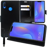 """Huawei P Smart+/ P Smart Plus/ Nova 3i 6.3"""" INE-LX1/ LX2/ L21 (non compatible Huawei P smart 5.65""""/ Nova 5.0""""/ Nova 3): Accessoire Etui portefeuille Livre Housse Coque Pochette support vidéo cuir PU + mini Stylet - NOIR"""