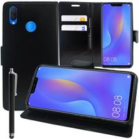 """Huawei P Smart+/ P Smart Plus/ Nova 3i 6.3"""" INE-LX1/ LX2/ L21 (non compatible Huawei P smart 5.65""""/ Nova 5.0""""/ Nova 3): Accessoire Etui portefeuille Livre Housse Coque Pochette support vidéo cuir PU + Stylet - NOIR"""