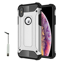 "Apple iPhone XS Max (2018) 6.5"" A1921 A2104 (non compatible iPhone XS 5.8""): Coque Antichoc Rugged Armor Neo Hybrid carbone + mini Stylet - ARGENT"