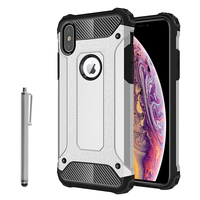"Apple iPhone XS Max (2018) 6.5"" A1921 A2104 (non compatible iPhone XS 5.8""): Coque Antichoc Rugged Armor Neo Hybrid carbone + Stylet - ARGENT"