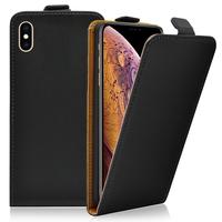 """Apple iPhone XS Max (2018) 6.5"""" A1921 A2104 (non compatible iPhone XS 5.8""""): Accessoire Housse Coque Pochette Etui protection vrai cuir à rabat vertical - NOIR"""