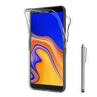 """Samsung Galaxy J6+/ J6 Plus (2018) 6.0"""" (non compatible Galaxy J6 (2018) 5.6"""") [Les Dimensions EXACTES du telephone: 161.4 x 76.9 x 7.9 mm]: Coque Housse Silicone Gel TRANSPARENTE ultra mince 360° protection intégrale Avant et Arrière + Stylet - TRANSP"""