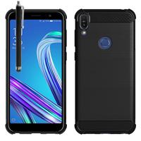 """Asus Zenfone Max Pro (M1) ZB601KL/ ZB602KL 5.99"""" (non compatible Zenfone Max Plus (M1) ZB570TL/ Zenfone Max (M1) ZB555KL/ ZB556KL): Coque Housse Silicone Souple en Fibre de Carbone Brossé motif TPU Case + Stylet - NOIR"""