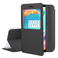 "OnePlus 5T A5010 6.01"" (non compatible OnePlus 5 A5000 5.5""): Etui View Case Flip Folio Leather cover - NOIR"