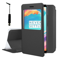 "OnePlus 5T A5010 6.01"" (non compatible OnePlus 5 A5000 5.5""): Etui View Case Flip Folio Leather cover + mini Stylet - NOIR"