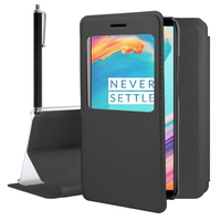 "OnePlus 5T A5010 6.01"" (non compatible OnePlus 5 A5000 5.5""): Etui View Case Flip Folio Leather cover + Stylet - NOIR"