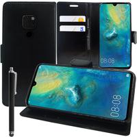 """Huawei Mate 20 6.53"""" HMA-L09/ HMA-L29 (non compatible Mate 20 lite/ Mate 20 Pro/ Mate 20 X): Accessoire Etui portefeuille Livre Housse Coque Pochette support vidéo cuir PU + Stylet - NOIR"""