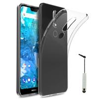 """Nokia 7.1 (2018) 5.84"""" (non compatible Nokia 7.1 Plus 6.18""""/ Nokia 7 5.2"""") [Les Dimensions EXACTES du telephone: 149.7 x 71.2 x 8 mm]: Accessoire Housse Etui Coque gel UltraSlim et Ajustement parfait + mini Stylet - TRANSPARENT"""