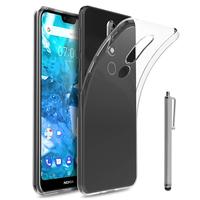 """Nokia 7.1 (2018) 5.84"""" (non compatible Nokia 7.1 Plus 6.18""""/ Nokia 7 5.2"""") [Les Dimensions EXACTES du telephone: 149.7 x 71.2 x 8 mm]: Accessoire Housse Etui Coque gel UltraSlim et Ajustement parfait + Stylet - TRANSPARENT"""
