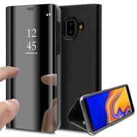 """Samsung Galaxy J6+/ J6 Plus (2018) 6.0"""" (non compatible Galaxy J6 (2018) 5.6"""") [Les Dimensions EXACTES du telephone: 161.4 x 76.9 x 7.9 mm]: Clear View Housse Etui Flip Folio Support Vidéo Effet Mirroir - NOIR"""