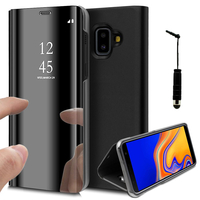 """Samsung Galaxy J6+/ J6 Plus (2018) 6.0"""" (non compatible Galaxy J6 (2018) 5.6"""") [Les Dimensions EXACTES du telephone: 161.4 x 76.9 x 7.9 mm]: Clear View Housse Etui Flip Folio Support Vidéo Effet Mirroir + mini Stylet - NOIR"""