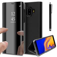 """Samsung Galaxy J6+/ J6 Plus (2018) 6.0"""" (non compatible Galaxy J6 (2018) 5.6"""") [Les Dimensions EXACTES du telephone: 161.4 x 76.9 x 7.9 mm]: Clear View Housse Etui Flip Folio Support Vidéo Effet Mirroir + Stylet - NOIR"""