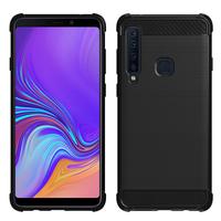 """Samsung Galaxy A9 (2018) 6.3"""" SM-A920F/ Galaxy A9S/ A9 Star Pro (non compatible Galaxy A9 (2016) 6.0""""): Coque Housse Silicone Souple en Fibre de Carbone Brossé motif TPU Case - NOIR"""