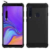 "Samsung Galaxy A9 (2018) 6.3"" SM-A920F/ Galaxy A9S/ A9 Star Pro (non compatible Galaxy A9 (2016) 6.0""): Coque Housse Silicone Souple en Fibre de Carbone Brossé motif TPU Case + mini Stylet - NOIR"
