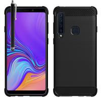 """Samsung Galaxy A9 (2018) 6.3"""" SM-A920F/ Galaxy A9S/ A9 Star Pro (non compatible Galaxy A9 (2016) 6.0""""): Coque Housse Silicone Souple en Fibre de Carbone Brossé motif TPU Case + Stylet - NOIR"""