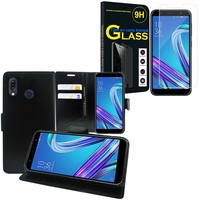 """Asus Zenfone Max Pro (M1) ZB601KL/ ZB602KL 5.99"""": Etui Coque Housse Pochette Accessoires portefeuille support video cuir PU - NOIR + 1 Film de protection d'écran Verre Trempé"""