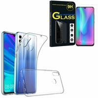 """Huawei Honor 10 Lite 6.21"""" HRY-AL00/ HRY-AL00a/ HRY-TL00: Etui Housse Pochette Accessoires Coque gel UltraSlim - TRANSPARENT + 1 Film de protection d'écran Verre Trempé"""