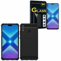 """Huawei Honor 8X 6.5"""": Coque Housse Silicone Souple en Fibre de Carbone Brossé motif TPU Case - NOIR + 1 Film de protection d'écran Verre Trempé"""