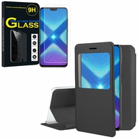 """Huawei Honor 8X 6.5"""": Etui View Case Flip Folio Leather cover - NOIR + 1 Film de protection d'écran Verre Trempé"""