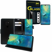 """Huawei Mate 20 6.53"""" HMA-L09/ HMA-L29: Etui Coque Housse Pochette Accessoires portefeuille support video cuir PU - NOIR + 1 Film de protection d'écran Verre Trempé"""