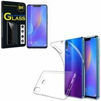 """Huawei P Smart+/ P Smart Plus/ Nova 3i 6.3"""" INE-LX1/ LX2/ L21: Etui Housse Pochette Accessoires Coque gel UltraSlim - TRANSPARENT + 1 Film de protection d'écran Verre Trempé"""