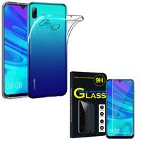 """Huawei P Smart (2019) 6.21"""" POT-LX3/ POT-LX1/ POT-AL00/ POT-LX1AF/ POT-LX2J/ POT-LX1RUA: Etui Housse Pochette Accessoires Coque gel UltraSlim - TRANSPARENT + 1 Film de protection d'écran Verre Trempé"""