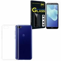 """Huawei Y5 Lite (2018) 5.45"""" DRA-LX5: Etui Housse Pochette Accessoires Coque gel UltraSlim - TRANSPARENT + 1 Film de protection d'écran Verre Trempé"""