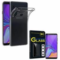 """Samsung Galaxy A9 (2018) 6.3"""" SM-A920F/ Galaxy A9S/ A9 Star Pro: Etui Housse Pochette Accessoires Coque gel UltraSlim - TRANSPARENT + 1 Film de protection d'écran Verre Trempé"""