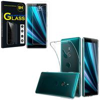 """Sony Xperia XZ3/ XZ3 DUAL SIM 6.0"""": Etui Housse Pochette Accessoires Coque gel UltraSlim - TRANSPARENT + 1 Film de protection d'écran Verre Trempé"""