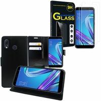 """Asus Zenfone Max Pro (M1) ZB601KL/ ZB602KL 5.99"""": Etui Coque Housse Pochette Accessoires portefeuille support video cuir PU - NOIR + 2 Films de protection d'écran Verre Trempé"""