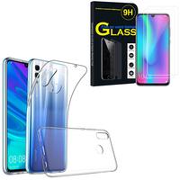 """Huawei Honor 10 Lite 6.21"""" HRY-AL00/ HRY-AL00a/ HRY-TL00: Etui Housse Pochette Accessoires Coque gel UltraSlim - TRANSPARENT + 2 Films de protection d'écran Verre Trempé"""