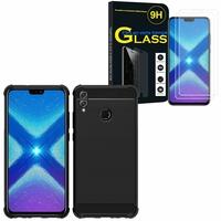 """Huawei Honor 8X 6.5"""": Coque Housse Silicone Souple en Fibre de Carbone Brossé motif TPU Case - NOIR + 2 Films de protection d'écran Verre Trempé"""