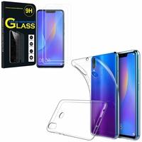 """Huawei P Smart+/ P Smart Plus/ Nova 3i 6.3"""" INE-LX1/ LX2/ L21: Etui Housse Pochette Accessoires Coque gel UltraSlim - TRANSPARENT + 2 Films de protection d'écran Verre Trempé"""