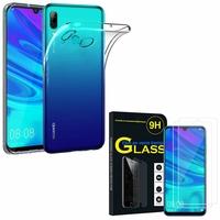 """Huawei P Smart (2019) 6.21"""" POT-LX3/ POT-LX1/ POT-AL00/ POT-LX1AF/ POT-LX2J/ POT-LX1RUA: Etui Housse Pochette Accessoires Coque gel UltraSlim - TRANSPARENT + 2 Films de protection d'écran Verre Trempé"""