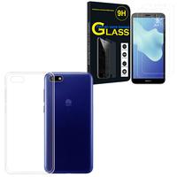 """Huawei Y5 Lite (2018) 5.45"""" DRA-LX5: Etui Housse Pochette Accessoires Coque gel UltraSlim - TRANSPARENT + 2 Films de protection d'écran Verre Trempé"""