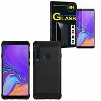 """Samsung Galaxy A9 (2018) 6.3"""" SM-A920F/ Galaxy A9S/ A9 Star Pro: Coque Housse Silicone Souple en Fibre de Carbone Brossé motif TPU Case - NOIR + 2 Films de protection d'écran Verre Trempé"""