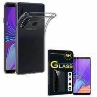 """Samsung Galaxy A9 (2018) 6.3"""" SM-A920F/ Galaxy A9S/ A9 Star Pro: Etui Housse Pochette Accessoires Coque gel UltraSlim - TRANSPARENT + 2 Films de protection d'écran Verre Trempé"""