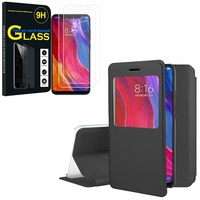 "Xiaomi Mi 8/ Xiaomi Mi8 6.21"": Etui View Case Flip Folio Leather cover - NOIR + 2 Films de protection d'écran Verre Trempé"