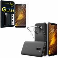 """Xiaomi Pocophone F1/ Poco F1 6.18"""" M1805E10A: Etui Housse Pochette Accessoires Coque gel UltraSlim - TRANSPARENT + 2 Films de protection d'écran Verre Trempé"""